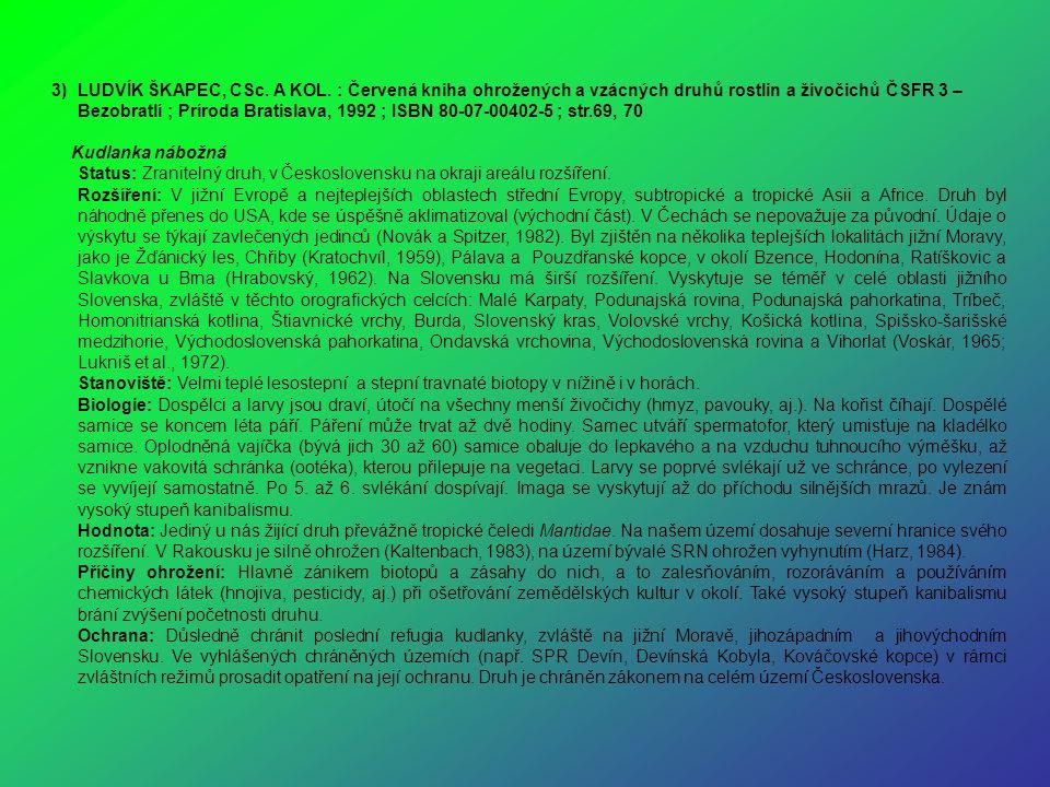 3)LUDVÍK ŠKAPEC, CSc. A KOL. : Červená kniha ohrožených a vzácných druhů rostlin a živočichů ČSFR 3 – Bezobratlí ; Príroda Bratislava, 1992 ; ISBN 80-