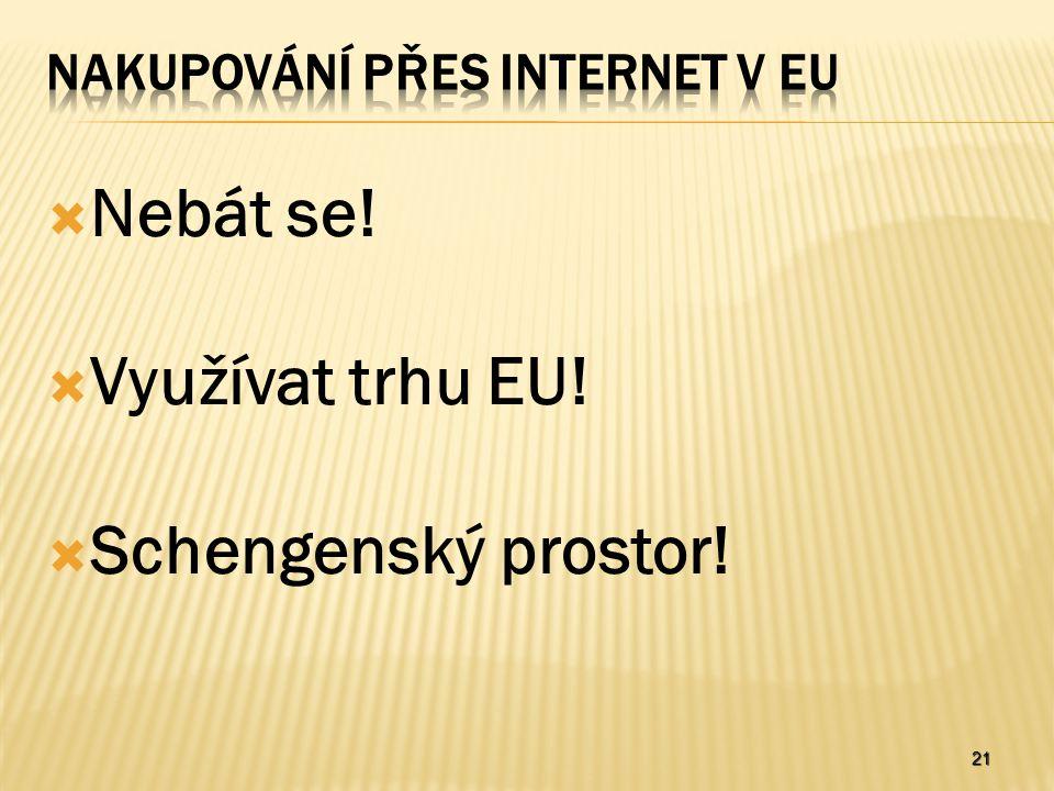 21  Nebát se!  Využívat trhu EU!  Schengenský prostor!