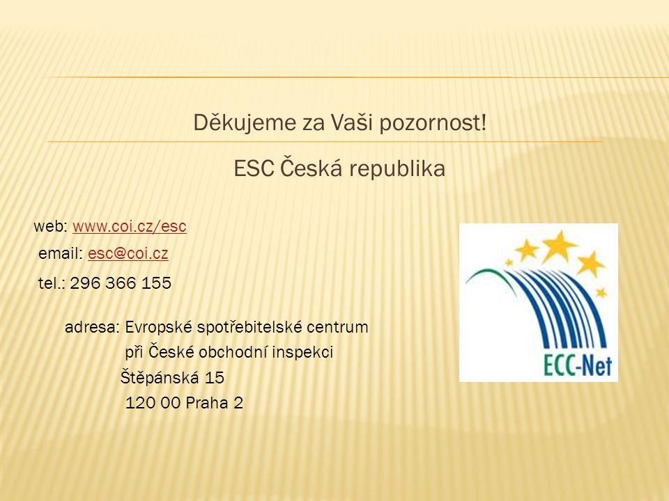 Děkujeme za Vaši pozornost! ESC Česká republika web: www.coi.cz/escwww.coi.cz/esc email: esc@coi.cz esc@coi.cz tel.: 296 366 155 adresa: Evropské spot