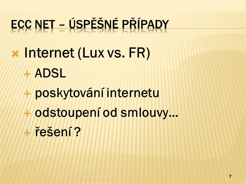 7  Internet (Lux vs. FR)  ADSL  poskytování internetu  odstoupení od smlouvy…  řešení ?