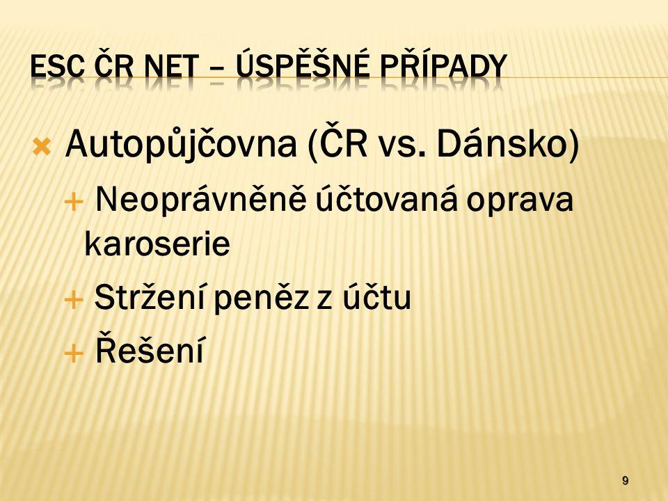 9  Autopůjčovna (ČR vs. Dánsko)  Neoprávněně účtovaná oprava karoserie  Stržení peněz z účtu  Řešení
