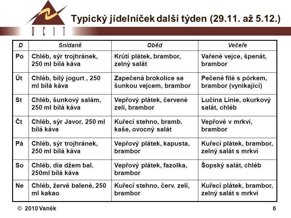 © 2010 Vaněk6 Typický jídelníček další týden (29.11. až 5.12.) DSnídaněObědVečeře PoChléb, sýr trojhránek, 250 ml bílá káva Krůtí plátek, brambor, zel