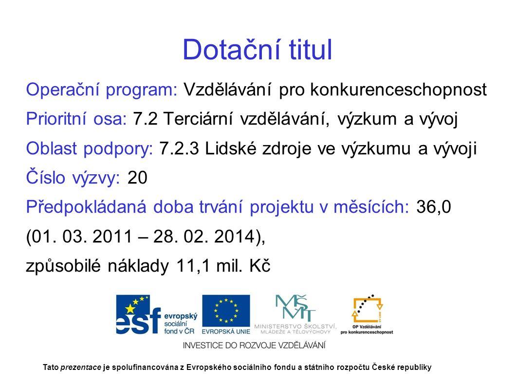 Dotační titul Operační program: Vzdělávání pro konkurenceschopnost Prioritní osa: 7.2 Terciární vzdělávání, výzkum a vývoj Oblast podpory: 7.2.3 Lidské zdroje ve výzkumu a vývoji Číslo výzvy: 20 Předpokládaná doba trvání projektu v měsících: 36,0 (01.