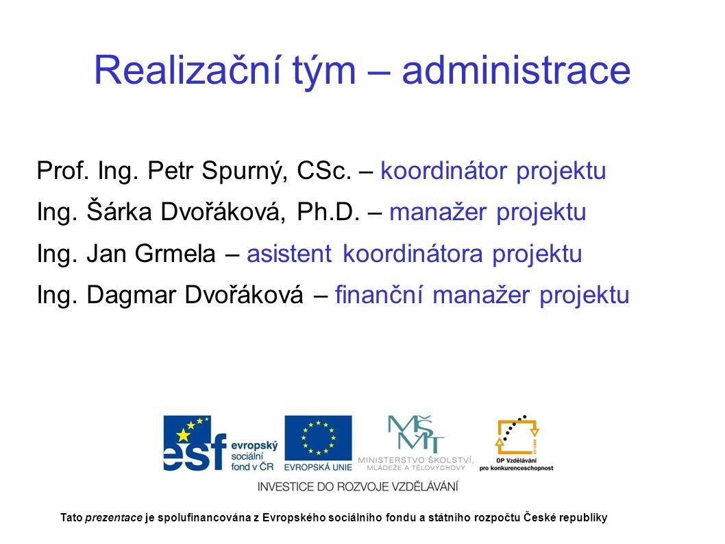 Realizační tým – administrace Prof. Ing. Petr Spurný, CSc.
