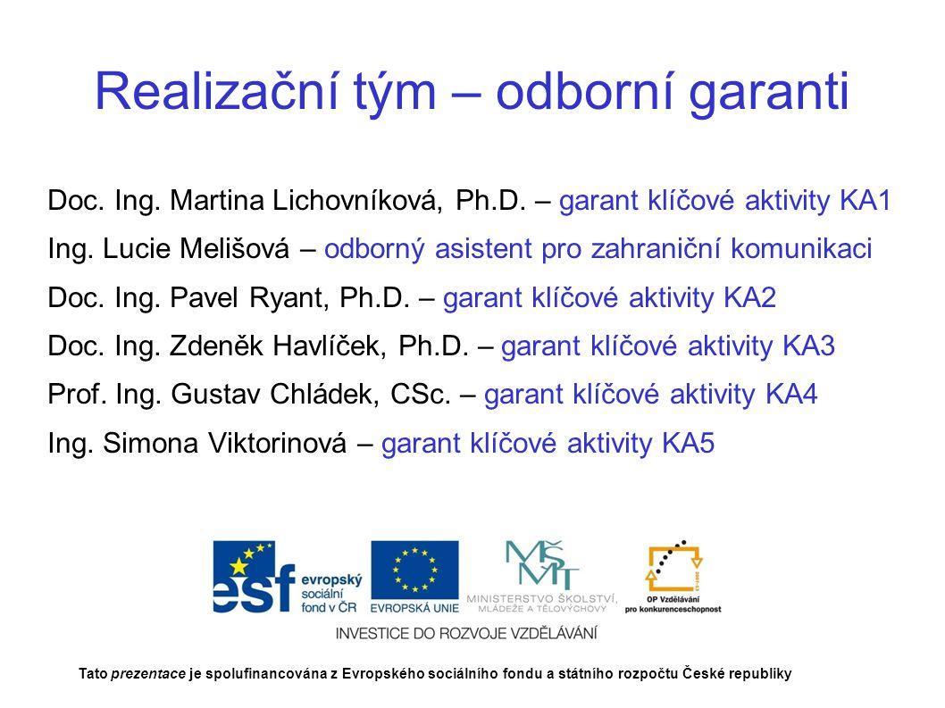 Realizační tým – odborní garanti Doc. Ing. Martina Lichovníková, Ph.D.