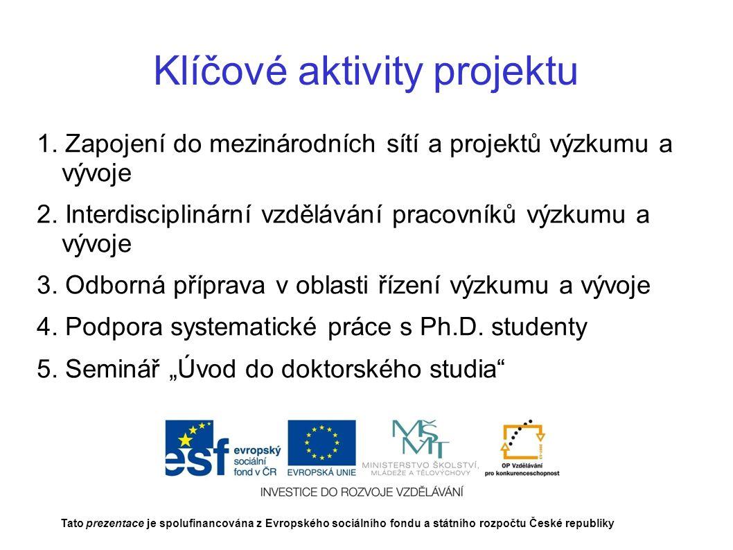Klíčové aktivity projektu 1. Zapojení do mezinárodních sítí a projektů výzkumu a vývoje 2.