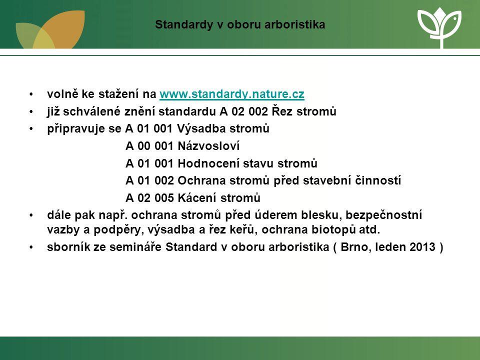 Standardy v oboru arboristika •volně ke stažení na www.standardy.nature.czwww.standardy.nature.cz •již schválené znění standardu A 02 002 Řez stromů •