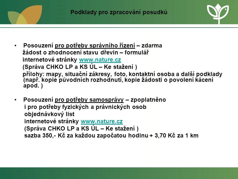 Podklady pro zpracování posudků •Posouzení pro potřeby správního řízení – zdarma žádost o zhodnocení stavu dřevin – formulář internetové stránky www.n