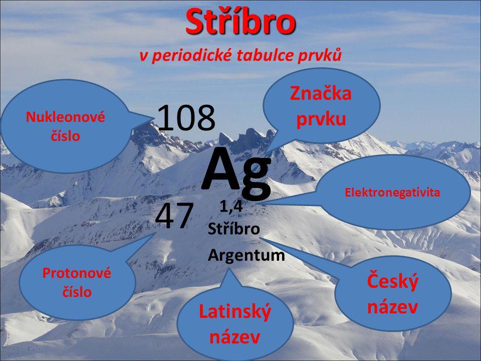 Stříbro Stříbro v periodické tabulce prvků Ag 108 47 Značka prvku Nukleonové číslo Protonové číslo Stříbro Argentum 1,4 Český název Elektronegativita Latinský název