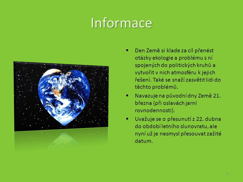 Informace  Den Země si klade za cíl přenést otázky ekologie a problému s ní spojených do politických kruhů a vytvořit v nich atmosféru k jejich řešení.