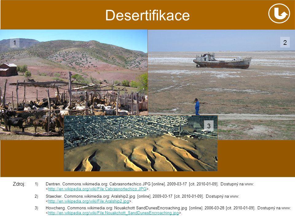Desertifikace http://en.wikipedia.org/wiki/File:Nouakchott_SandDunesEncroaching.jpg 1)Dentren. Commons.wikimedia.org: Cabrasnortechico.JPG [online]. 2