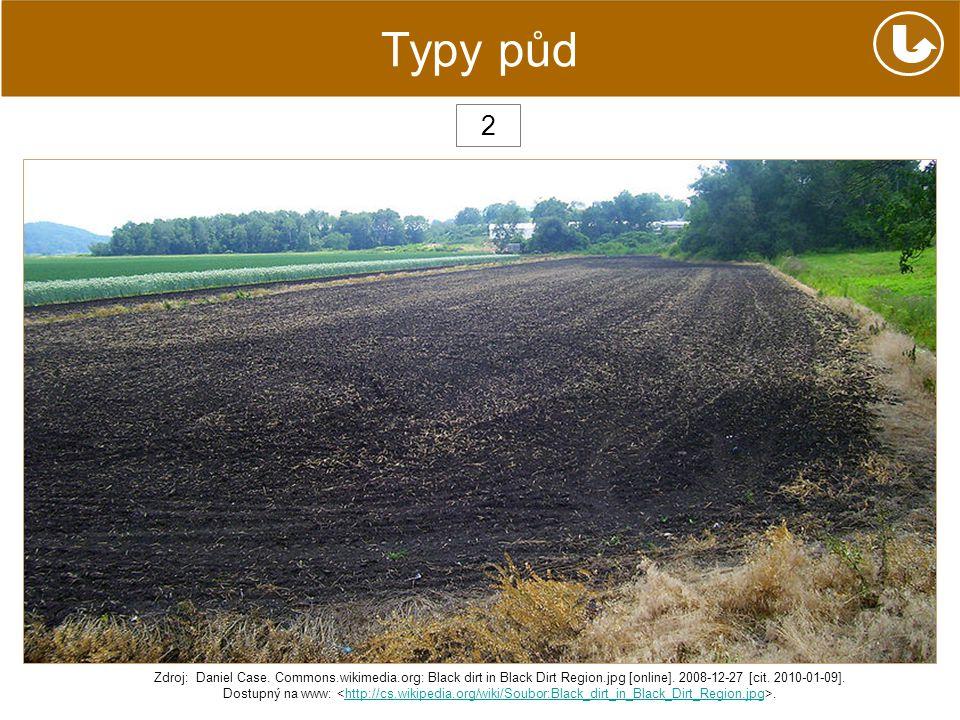 Typy půd 2 Zdroj: Daniel Case. Commons.wikimedia.org: Black dirt in Black Dirt Region.jpg [online]. 2008-12-27 [cit. 2010-01-09]. Dostupný na www:.htt