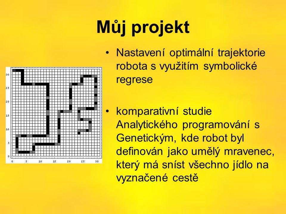 Můj projekt •Nastavení optimální trajektorie robota s využitím symbolické regrese •komparativní studie Analytického programování s Genetickým, kde robot byl definován jako umělý mravenec, který má sníst všechno jídlo na vyznačené cestě