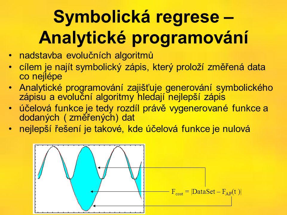 Symbolická regrese – Analytické programování •nadstavba evolučních algoritmů •cílem je najít symbolický zápis, který proloží změřená data co nejlépe •Analytické programování zajišťuje generování symbolického zápisu a evoluční algoritmy hledají nejlepší zápis •účelová funkce je tedy rozdíl právě vygenerované funkce a dodaných ( změřených) dat •nejlepší řešení je takové, kde účelová funkce je nulová F cost = |DataSet – F AP (t )|
