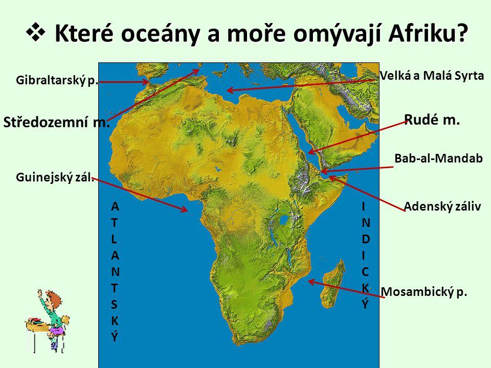  Které oceány a moře omývají Afriku? ATLANTSKÝATLANTSKÝ INDICKÝINDICKÝ Středozemní m. Rudé m. Gibraltarský p. Bab-al-Mandab Adenský záliv Mosambický