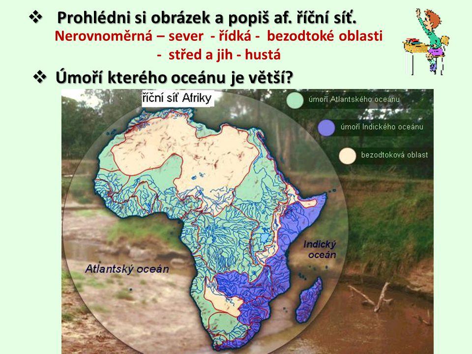 Řeky • napájení - převážně déšť, ale také podpovrchová voda, sníh • veliká vodnatost  Vypiš z atlasu 3 nejdelší řeky, délku toku a úmoří • Zambezi • Zambezi (2 574 km) – úmoří Indického oceánu • Orange • Orange ( 1 860 km) - úmoří Atlantského oceánu  Co je vádí a jak se značí v mapách.