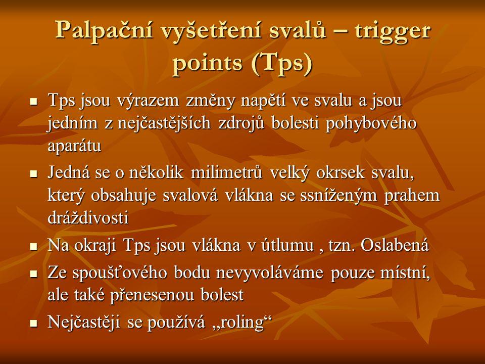 Palpační vyšetření svalů – trigger points (Tps)  Tps jsou výrazem změny napětí ve svalu a jsou jedním z nejčastějších zdrojů bolesti pohybového apará