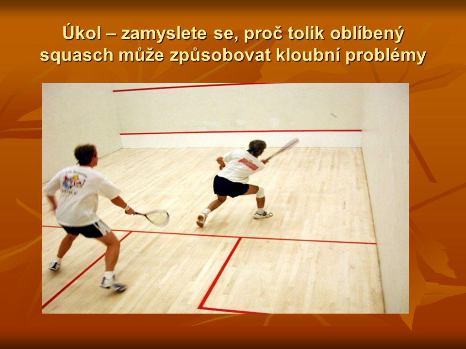 Úkol – zamyslete se, proč tolik oblíbený squasch může způsobovat kloubní problémy