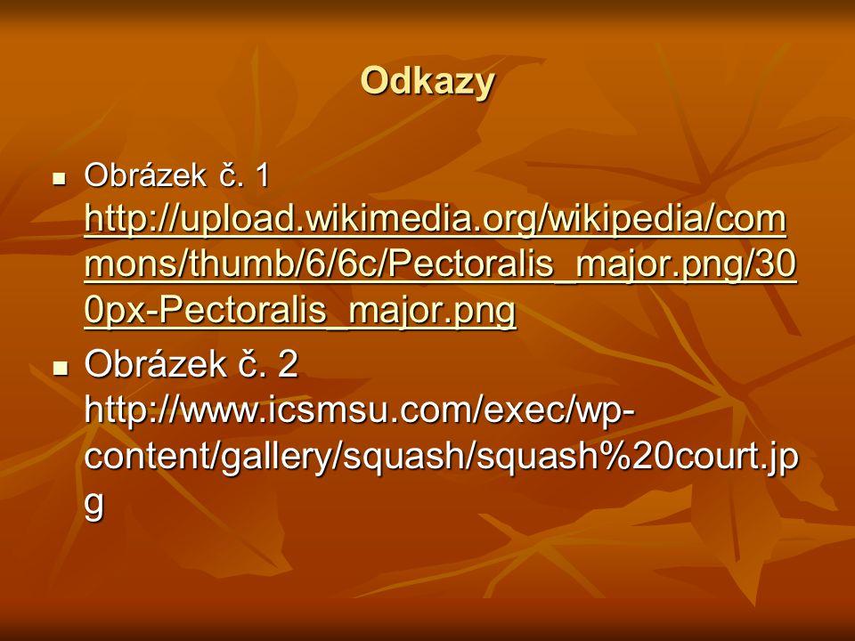 Odkazy  Obrázek č. 1 http://upload.wikimedia.org/wikipedia/com mons/thumb/6/6c/Pectoralis_major.png/30 0px-Pectoralis_major.png http://upload.wikimed