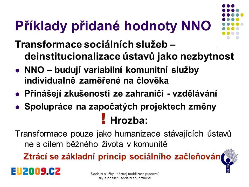 Sociální služby - nástroj mobilizace pracovní síly a posílení sociální soudržnosti Příklady přidané hodnoty NNO Transformace sociálních služeb – deins