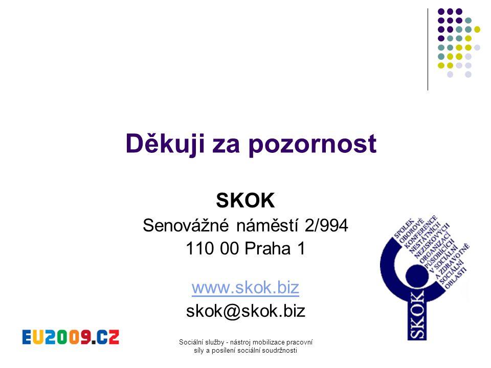 Sociální služby - nástroj mobilizace pracovní síly a posílení sociální soudržnosti Děkuji za pozornost SKOK Senovážné náměstí 2/994 110 00 Praha 1 www
