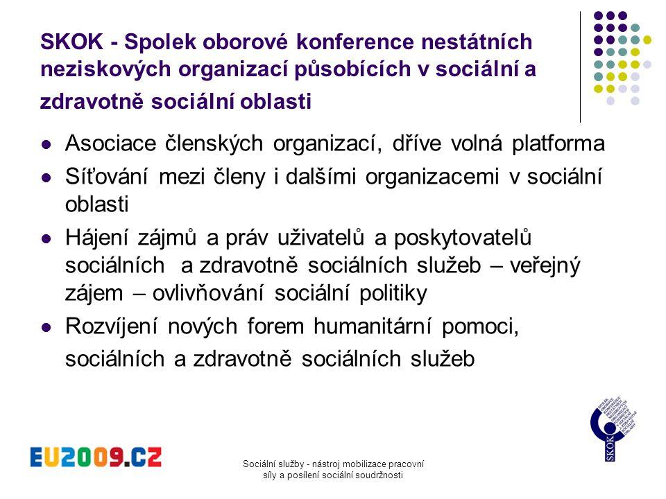 Sociální služby - nástroj mobilizace pracovní síly a posílení sociální soudržnosti SKOK - Spolek oborové konference nestátních neziskových organizací