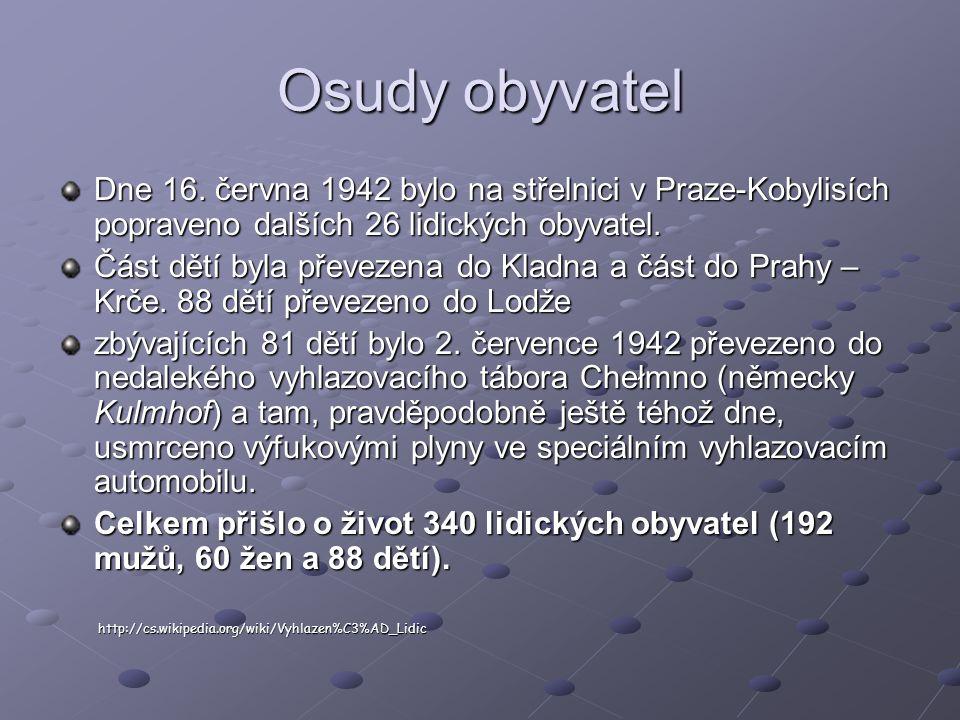 Osudy obyvatel Dne 16.
