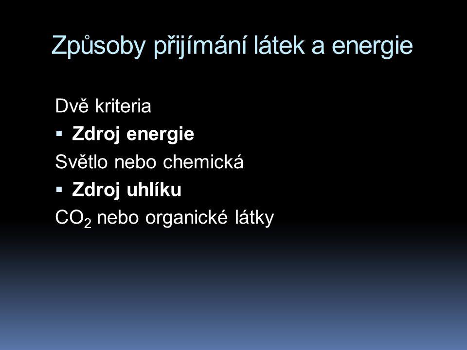 Způsoby přijímání látek a energie Dvě kriteria  Zdroj energie Světlo nebo chemická  Zdroj uhlíku CO 2 nebo organické látky