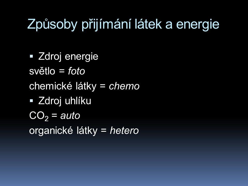 Způsoby přijímání látek a energie  Zdroj energie světlo = foto chemické látky = chemo  Zdroj uhlíku CO 2 = auto organické látky = hetero