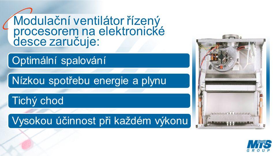 Modulační ventilátor řízený procesorem na elektronické desce zaručuje: Optimální spalování Nízkou spotřebu energie a plynu Tichý chod Vysokou účinnost při každém výkonu