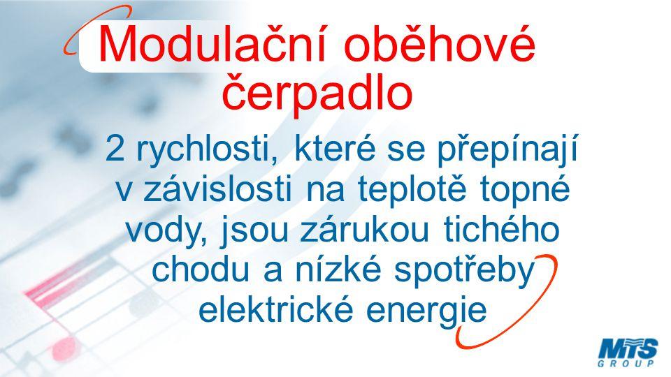 Modulační oběhové čerpadlo 2 rychlosti, které se přepínají v závislosti na teplotě topné vody, jsou zárukou tichého chodu a nízké spotřeby elektrické energie