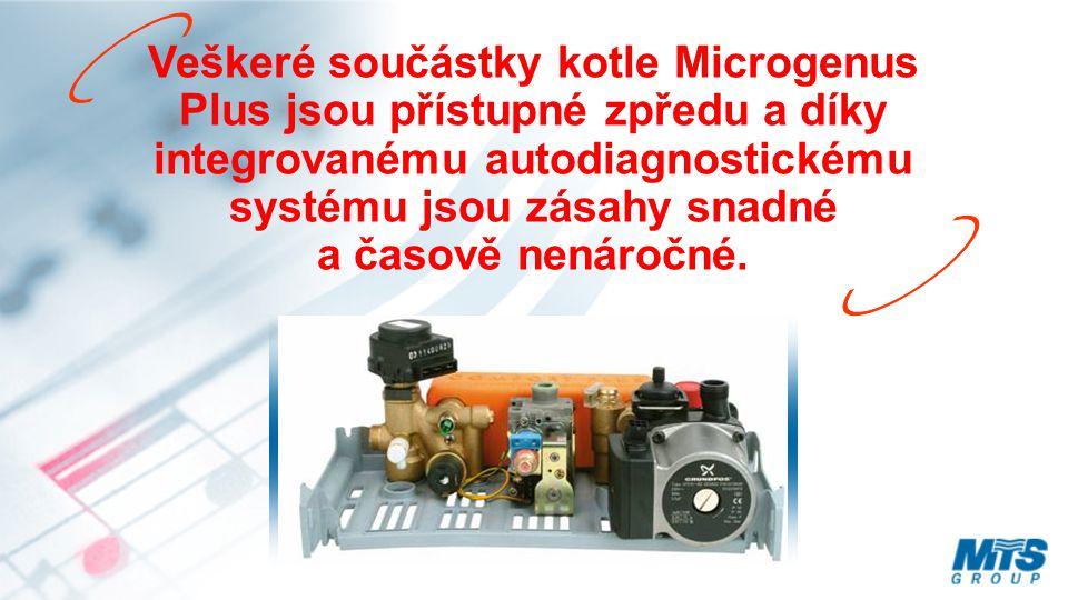 Veškeré součástky kotle Microgenus Plus jsou přístupné zpředu a díky integrovanému autodiagnostickému systému jsou zásahy snadné a časově nenáročné.