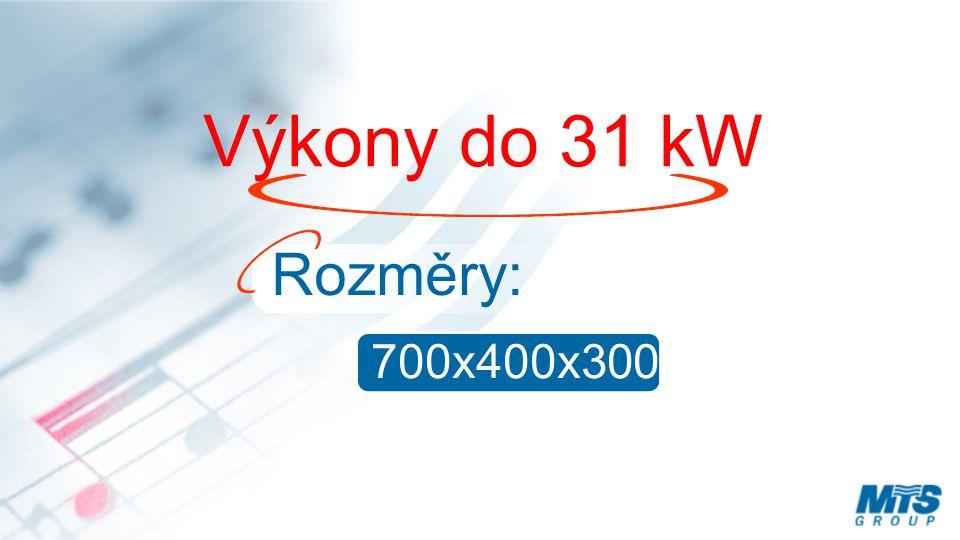 Výkony do 31 kW Rozměry: 700x400x300 mm
