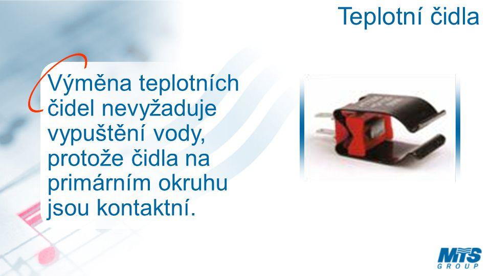 Teplotní čidla Výměna teplotních čidel nevyžaduje vypuštění vody, protože čidla na primárním okruhu jsou kontaktní.