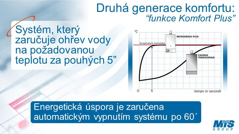 Druhá generace komfortu: funkce Komfort Plus Systém, který zaručuje ohřev vody na požadovanou teplotu za pouhých 5 Energetická úspora je zaručena automatickým vypnutím systému po 60´ e si riattiva ad ogni prelievo