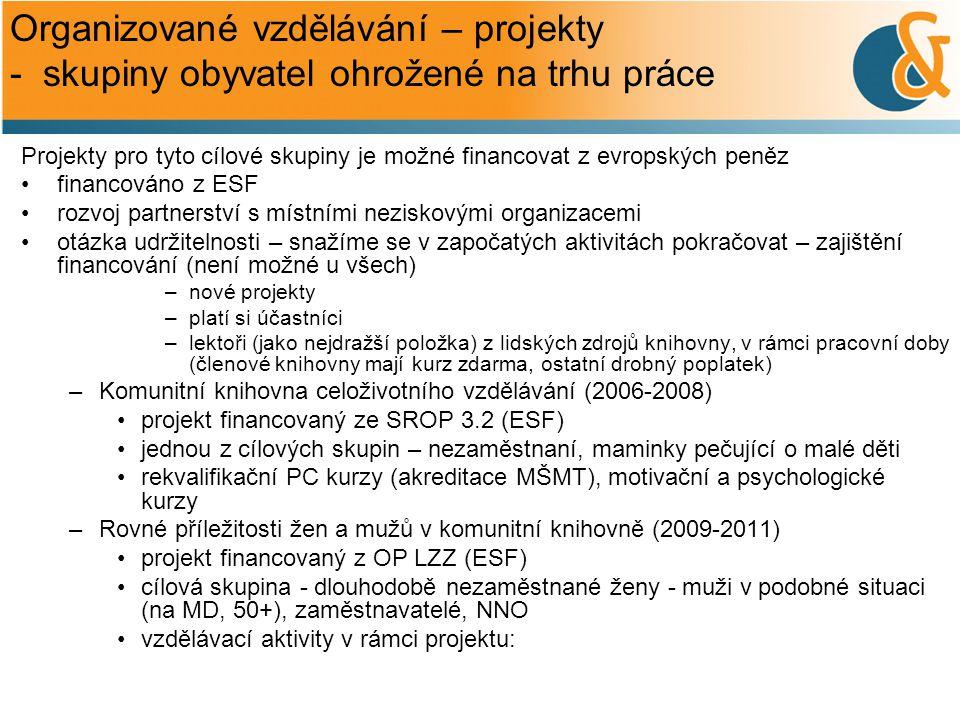 Organizované vzdělávání – projekty - skupiny obyvatel ohrožené na trhu práce Projekty pro tyto cílové skupiny je možné financovat z evropských peněz •