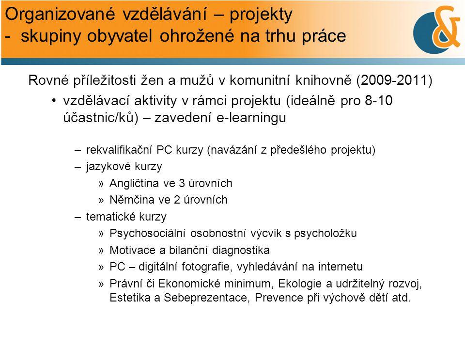Organizované vzdělávání – projekty - skupiny obyvatel ohrožené na trhu práce Rovné příležitosti žen a mužů v komunitní knihovně (2009-2011) •vzdělávac