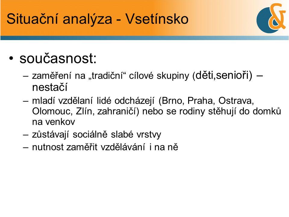 """Situační analýza - Vsetínsko •současnost: –zaměření na """"tradiční"""" cílové skupiny ( děti,senioři) – nestačí –mladí vzdělaní lidé odcházejí (Brno, Praha"""