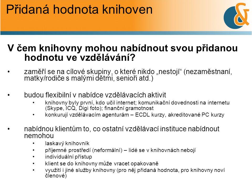 Vzdělávání v knihovně •neorganizované, vlastní silou, sebevzdělávání (četba, poslech toho, co mě zajímá) •organizované –pro školy obecně MŠ, ZŠ, SŠ (nabídka školám) http://www.mvk.cz/archiv/stazeni/MVK-101090-nabidka-akci-skolam-a-skolnim-druzinam-pro-skolni-rok-2011_2012l.pdf http://www.mvk.cz/archiv/stazeni/MVK-101090-nabidka-akci-skolam-a-skolnim-druzinam-pro-skolni-rok-2011_2012l.pdf –vzdělávání v rámci projektů – orientace na konkrétní cílové skupiny http://www.mvk.cz/knihovna/vsetin/projekty-10005/ –vzdělávání pro veřejnost http://www.mvk.cz/knihovna/vsetin/vypis-akci-10065/