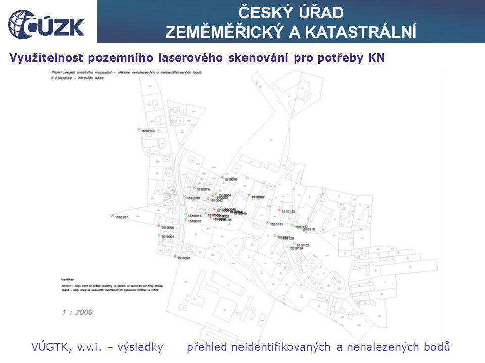 ČESKÝ ÚŘAD ZEMĚMĚŘICKÝ A KATASTRÁLNÍ Využitelnost pozemního laserového skenování pro potřeby KN VÚGTK, v.v.i. – výsledky přehled neidentifikovaných a