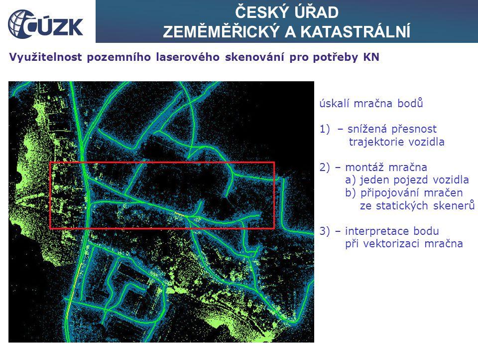 ČESKÝ ÚŘAD ZEMĚMĚŘICKÝ A KATASTRÁLNÍ Využitelnost pozemního laserového skenování pro potřeby KN úskalí mračna bodů 1)– snížená přesnost trajektorie vo