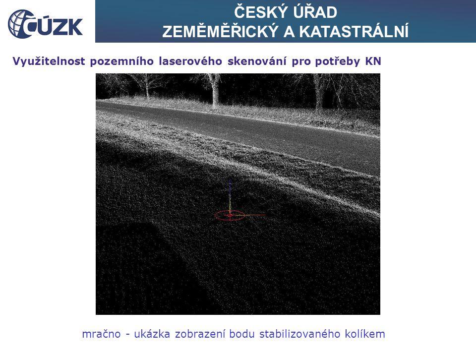 ČESKÝ ÚŘAD ZEMĚMĚŘICKÝ A KATASTRÁLNÍ Využitelnost pozemního laserového skenování pro potřeby KN mračno - ukázka zobrazení bodu stabilizovaného kolíkem