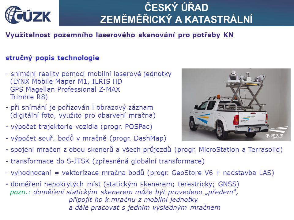 ČESKÝ ÚŘAD ZEMĚMĚŘICKÝ A KATASTRÁLNÍ Využitelnost pozemního laserového skenování pro potřeby KN stručný popis technologie - snímání reality pomocí mob
