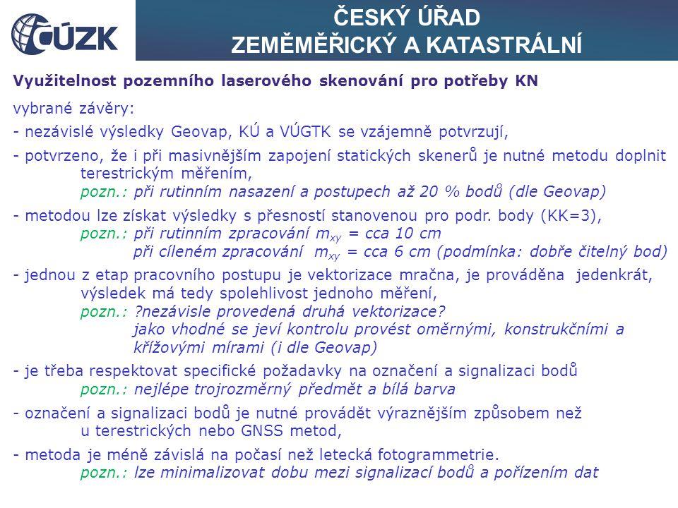 ČESKÝ ÚŘAD ZEMĚMĚŘICKÝ A KATASTRÁLNÍ Využitelnost pozemního laserového skenování pro potřeby KN vybrané závěry: - nezávislé výsledky Geovap, KÚ a VÚGT
