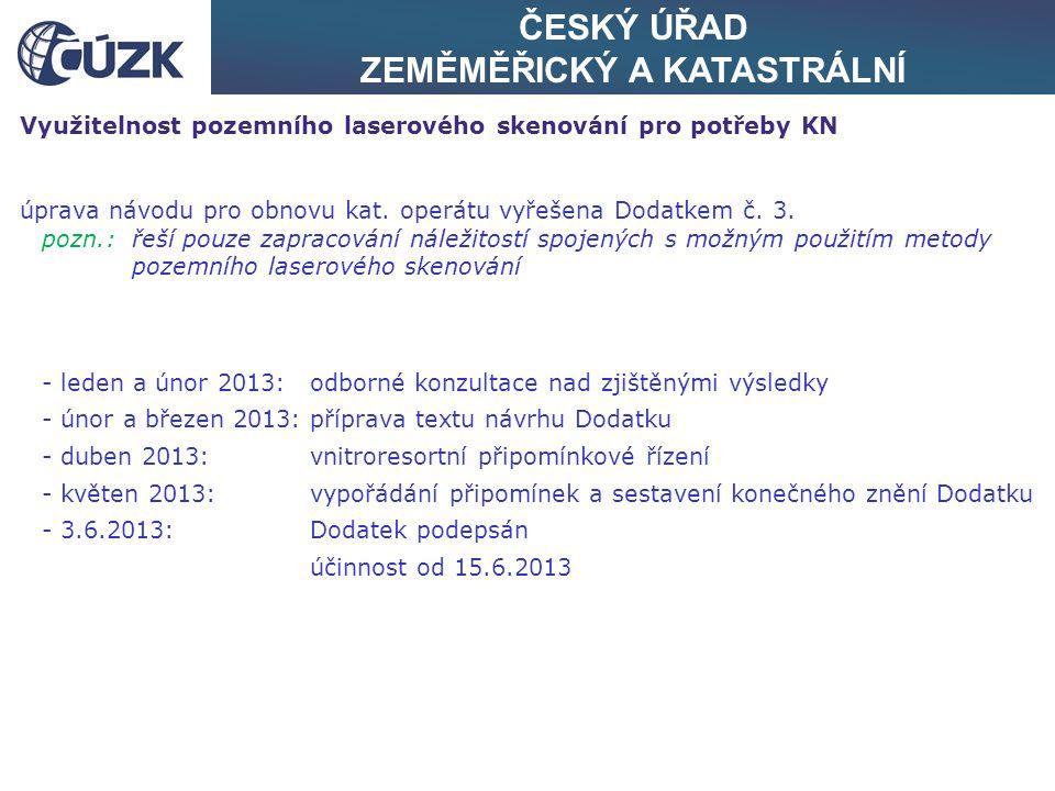 ČESKÝ ÚŘAD ZEMĚMĚŘICKÝ A KATASTRÁLNÍ Využitelnost pozemního laserového skenování pro potřeby KN úprava návodu pro obnovu kat. operátu vyřešena Dodatke