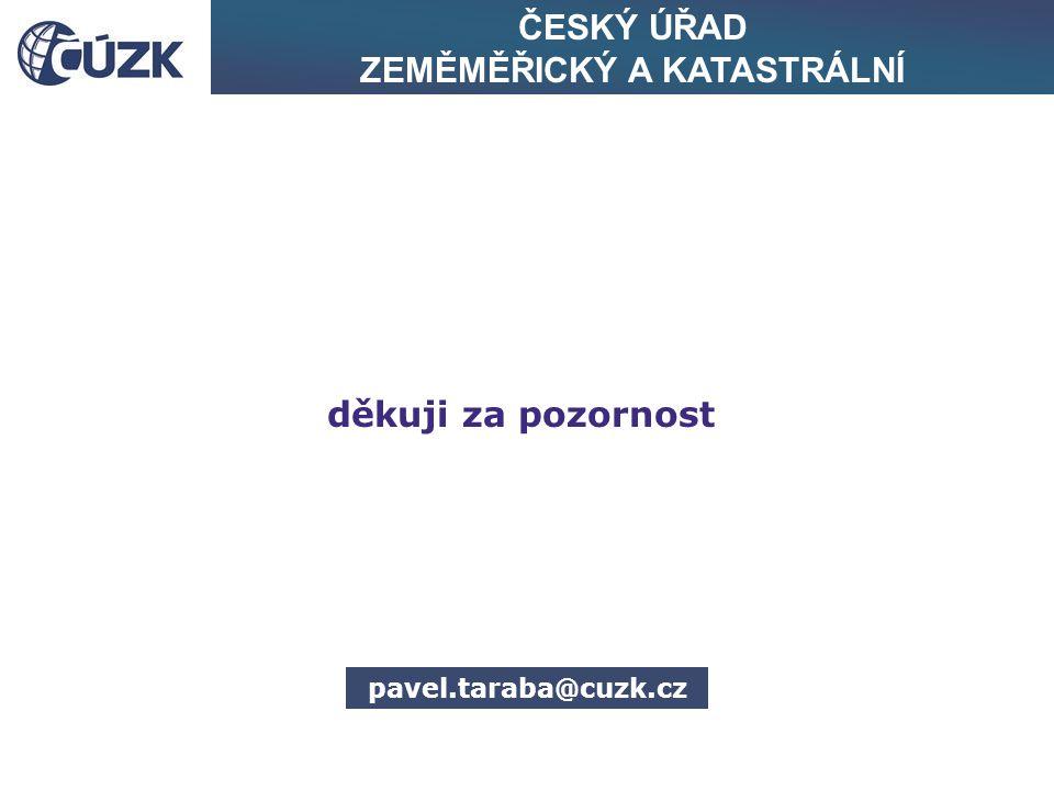 ČESKÝ ÚŘAD ZEMĚMĚŘICKÝ A KATASTRÁLNÍ děkuji za pozornost pavel.taraba@cuzk.cz