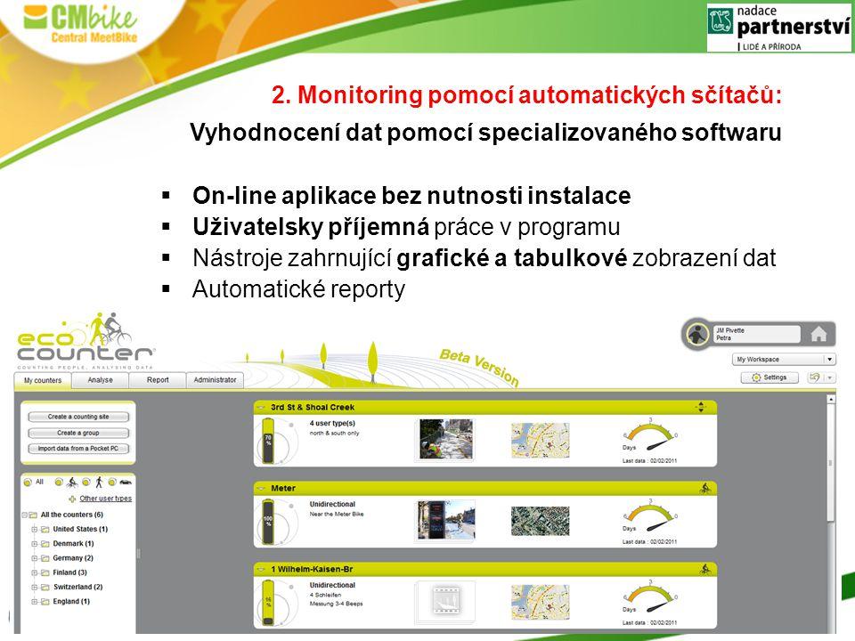 2. Monitoring pomocí automatických sčítačů: Vyhodnocení dat pomocí specializovaného softwaru  On-line aplikace bez nutnosti instalace  Uživatelsky p