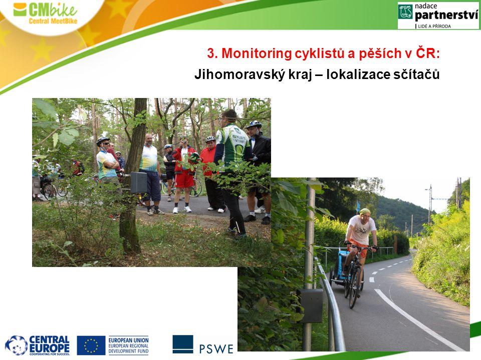 3. Monitoring cyklistů a pěších v ČR: Jihomoravský kraj – lokalizace sčítačů