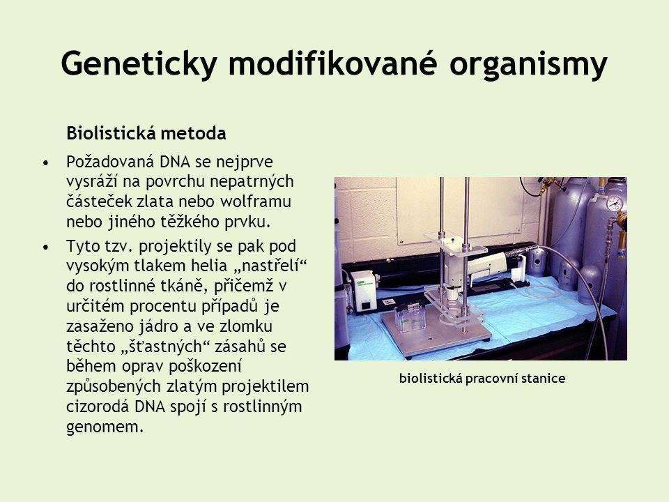 Geneticky modifikované organismy Biolistická metoda •Požadovaná DNA se nejprve vysráží na povrchu nepatrných částeček zlata nebo wolframu nebo jiného