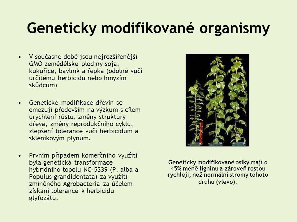 Geneticky modifikované organismy •V současné době jsou nejrozšířenější GMO zemědělské plodiny soja, kukuřice, bavlník a řepka (odolné vůči určitému he
